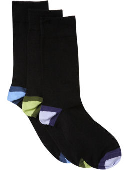 Pack of 3 Coloured Heel Socks