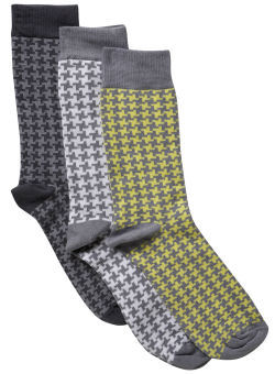 Pack of 3 Dogtooth Design Socks