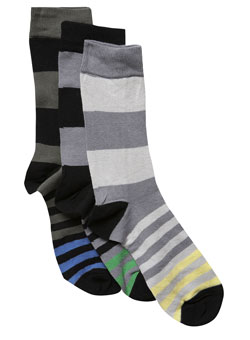 Pack of 3 Varied Stripe Socks