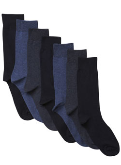 Pack of 7 Mixed Navy Socks