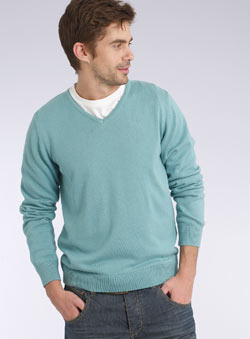 Pale Blue V-Neck Jumper