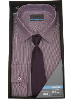 Purple Striped Shirt and Tie Gift Set