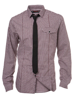 Red Check Fitted Shirt and Tie Set