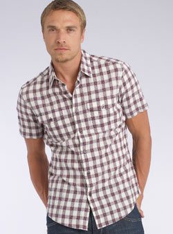 Red Crinkle Short Sleeve Check Shirt