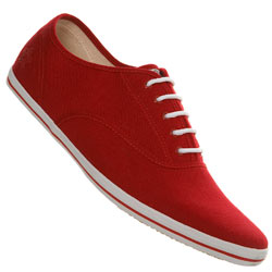 Red Linen Lace Up Sports Shoe