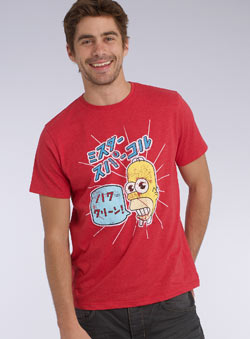 Red `omer Simpson`Printed T-Shirt