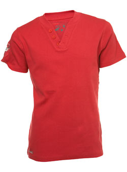 Red Ribbed Button V-Neck T-Shirt