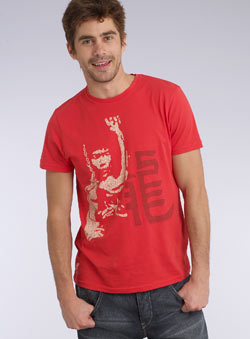 Red `ruce Lee`Printed T-Shirt