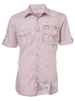 Red Stripe Punk Print Fitted Shirt