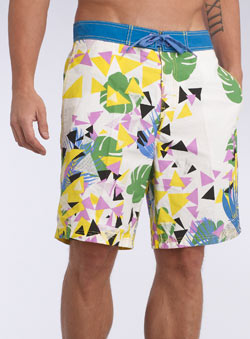 Shattered Leaf Print Swim Shorts