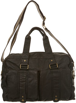 Slouchy Style Brown Mock Leather Holdall Bag