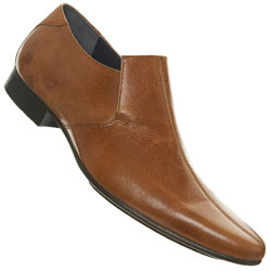 Tan Centre Seam Point Slip On Shoes