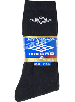 Umbro Black 3 Pack Sport Gym Socks