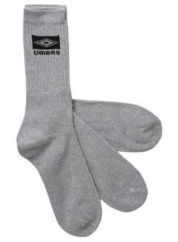 Umbro Light Grey Sport Gym Socks 3 pack