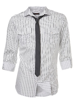White and Black Fitted Shirt and Tie