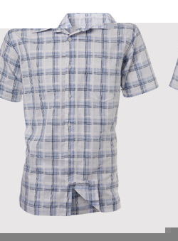 White and Blue Check Short Sleeve Casual Shirt