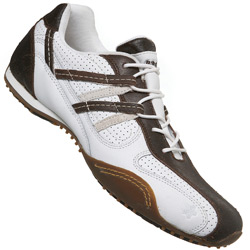 White And Brown Loop Lace Trainer Shoes