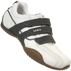 White and Grey Triple Velcro Trainer