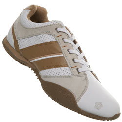 White/Beige Lace Up Sports Shoe