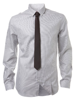 White Geo Fitted Shirt and Tie
