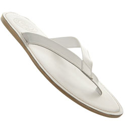 White Leather Toe Post Sandal