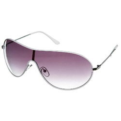 White Metal Visor Sunglasses