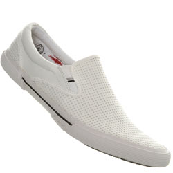 White Perforated Slip On Sports Shoes
