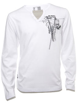 White Printed Notch Neck Long Sleeved T-Shirt