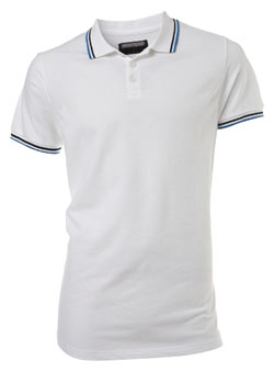 White Tipped Pique Polo