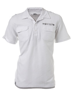 White Two Pocket Print Polo Shirt