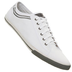 White with Grey Trim Lace Up Plimsolls