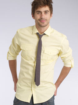 Yellow Stripe Shirt and Tie Set