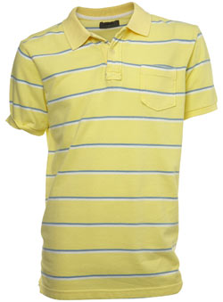 Yellow Striped Pique Polo Shirt