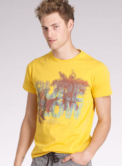 Yellow `ure Flow`Printed T-Shirt