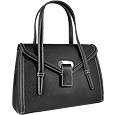 Black Embossed Leather Satchel Bag