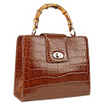 Brown Croco-embossed Leather Compact Tote Bag