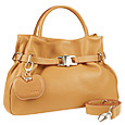 Camel Buckled Strap Soft Leather Satchel Bag