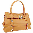 Camel Embossed Leather Buckled Satchel Bag