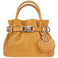 Camel Leather Buckled Strap Compact Tote