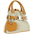 Canvas & Camel Leather Buckled Strap Mini Tote