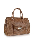 Front Pocket Brown Croco Stamped Leather Satchel