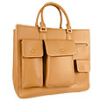Front Pocket Tan Embossed Leather Handbag