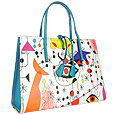 Mirò - Multicolor Art Print Embossed Leather Bag