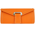 Orange Embossed Leather Envelope Clutch