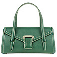 Pine Green Embossed Leather Satchel Bag