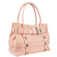 Pink Embossed Leather Buckled Satchel Bag