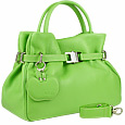Pistachio Buckled Strap Soft Leather Satchel Bag