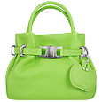 Pistachio Green Leather Buckled Strap Compact Tote