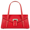Red Embossed Leather Satchel Bag