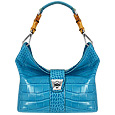 Topaz Croco-embossed Leather & Bamboo Hobo Bag